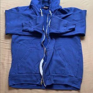 American Apparel Blue Zip Up Hoodie